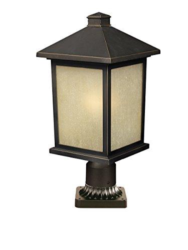 z-lite 507phb-533pm-orb Holbrook 1Light Outdoor Post Mount Licht, Metall Rahmen, Öl eingerieben Bronze Finish und getöntes Garage Schatten von Glas Material