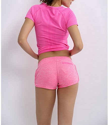 ACME - Fashion Shorts de Sport Running Tennis Footing Cyclisme Musculation Yoga Plage pour Femme Fille Rose Rouge