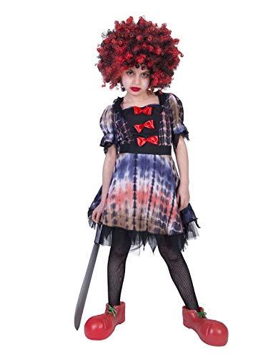 hen Kinder Kostüm, Horror Creepy Clown Luna, perfekt für Halloween Karneval und Fasching, 140, Mehrfarbig ()