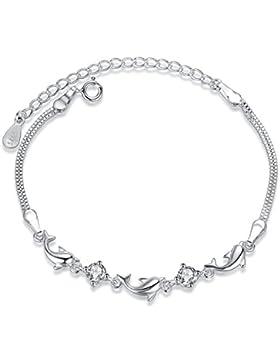 Fashmond Armband für Damen Mädchen aus 925 Sterling Silber & Zirkonia für Kindertag Geschenke