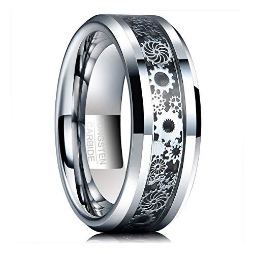Natur Fashion Wolfram Ring Damen Herren Partner Silber + Schwarz Kohlefasern mit Mechanischem Zahnrad Design für Lifestyle Fashion Party Fasching Hochzeit Partnerschaft Größe 67 (21,4 mm)