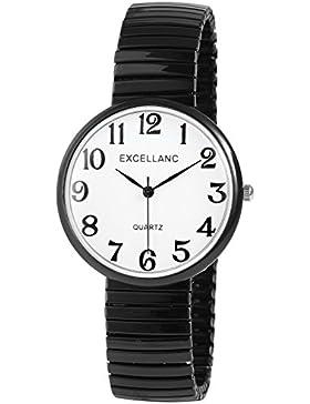 Excellanc Watch Damenuhr analoge Zugband Armbanduhr Quartz in Farbe Schwarz