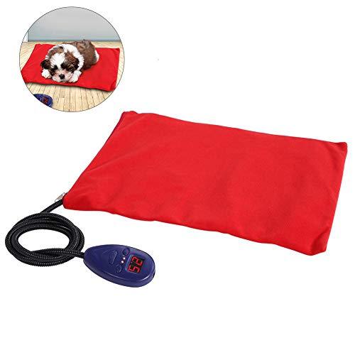 Riuty Heizmatte für Haustiere Hunde und Katzen Heizkissen Watt Sicher und wasserdicht Heizdecke Wärmematt für Hunde und Katzen (rot)