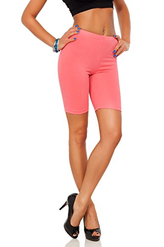 futuro fashion Baumwollleggings 1/2 Länge Overknee Shorts Active Sport Freizeithose LK - Koralle, 36