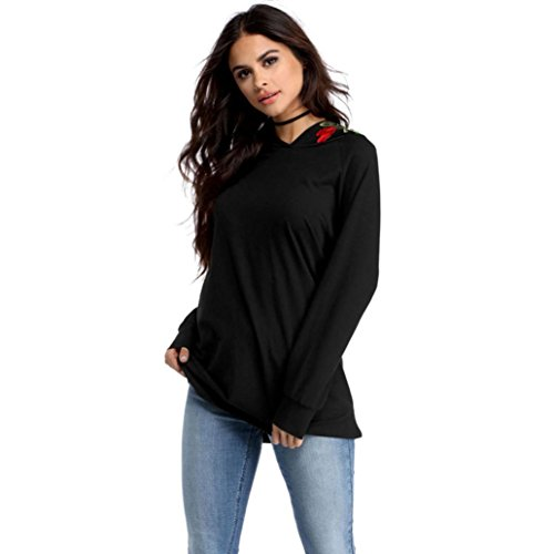 OverDose,Casual Blouse Femme Chic Oversize Sweat Confort à Capuche Sport Hooded Pullover Noir