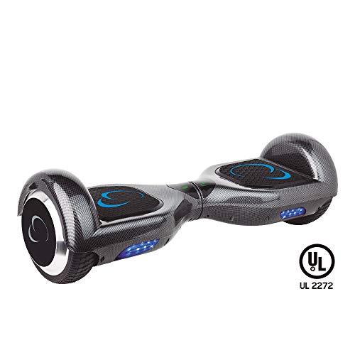 """SmartGyro X2 UL v.3.0 Carbono - Potente Patinete Eléctrico Hoverboard, Ruedas de 6.5"""" Antipinchazos, Batería de Litio 4400 mAh, vel. Máxima 12 Km/h, Autonomía de 20 Km, Certificado UL, Color carbono"""