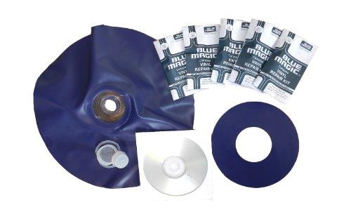 AQProfiRep Wasserbett Einfüllstutzen Reparatur-Set KOMPLETT - mit 5x Blue Magic Flickset, Anleitung auf Video-CD, Vinylpatch-Ring, Verschlusskappen -