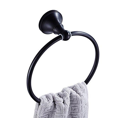 CASEWIND Handtuchring, Rund Handtuchhalter zum Bohren Wandmontieren mit Schwarze Oberfläche Haltbar Messing Konstruktion A,erikanisch Antik Stil