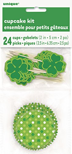 s St. Patrick 's Day Cupcake Fällen und Shamrock Cupcake Toppers Kit für 24 ()