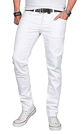 A. Salvarini Designer Herren Jeans Hose Basic Stretch Jeanshose Regular Slim [AS040 - Weiss - W29 L30]