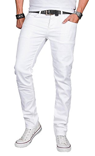 A. Salvarini Designer Herren Jeans Hose Basic Stretch Jeanshose Regular Slim [AS040 - Weiss - W34 L34]