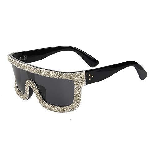 Taiyangcheng Polarisierte Sonnenbrille One Piece Oversize Polarisierte Sonnenbrille Frauen Big Size Retro Niet Kies Strass Sonnenbrille Weibliche Shades Männer Goggle,grau