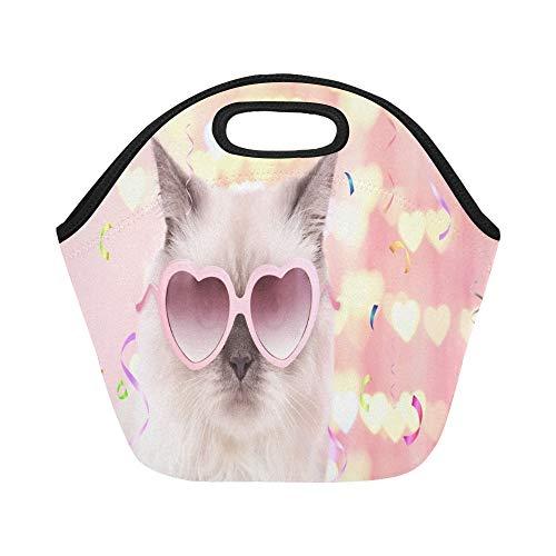Isolierte Neopren-Lunchpaket Schöne Cat Pink Heartshaped-Sonnenbrille auf großen wiederverwendbaren thermischen dicken Mittagessen-Tragetaschen für Lunch-Boxen für die Arbeit im Freien, Büro, Schule