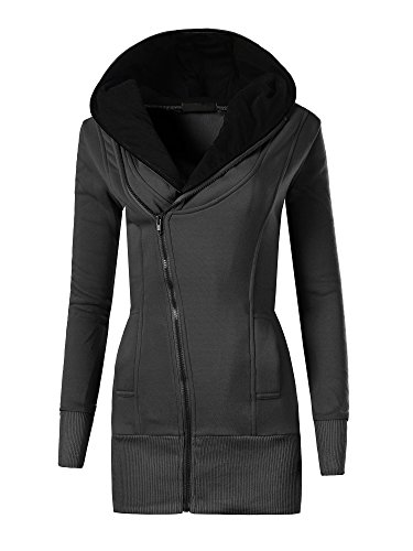 N007 Damen Pullover Long Kapuzenpullover Sweatshirt Hoodie Jacke Langarm , Farben:Schwarz;Größen:M (Long Pullover Schalkragen)