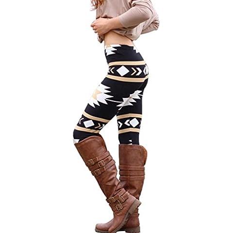 Oyedens Las mujeres flacas ocasionales Señora geométrica de impresión legging los pantalones elásticos delgados de las