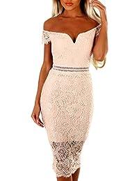 56f88968322a MYWY Abito midi corto elegante donna vestito cocktail pizzo maniche corte  spalle nude sexy
