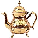 Indian Art Villa Embossed Design Mughlai Style Tea Coffee Pot Kettle, Tableware, Gift Item, 650 ML
