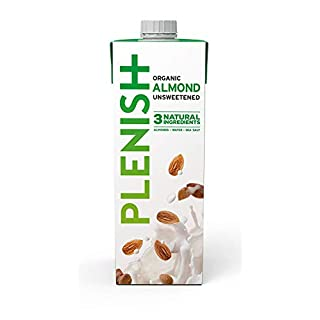 Plenish Almond Milk - 100% Organic, Dairy-Free & Unsweetened - Value Pack (8 x 1 Litre)