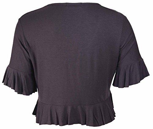 Purple Hanger - Boléro Haut Cardigan Femme Attache Extensible Volant Court Grande Taille Brun Foncé