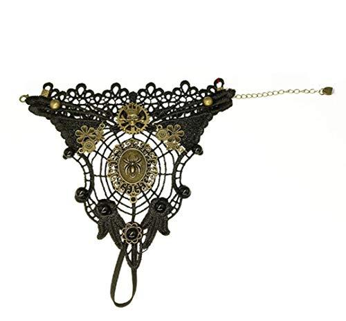 LUZEO Damen Black Spitze Armband, Spinnennetz Schädel Vampir Tattoo Armband Halloween Maedchen Party Kostüm Dekoration Gotisch Punk-Stil Schmuck,B (Tipps Für Ein Vampir Kostüm)