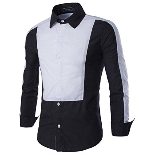 Men's Fashion Patchwork Long Sleeve Slim Casual Shirts Black