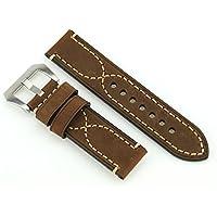 22 millimetri Crazy Horse Vigilanza di cuoio cinghia della fascia dell'orologio in acciaio inox fibbia (Intera Cross)