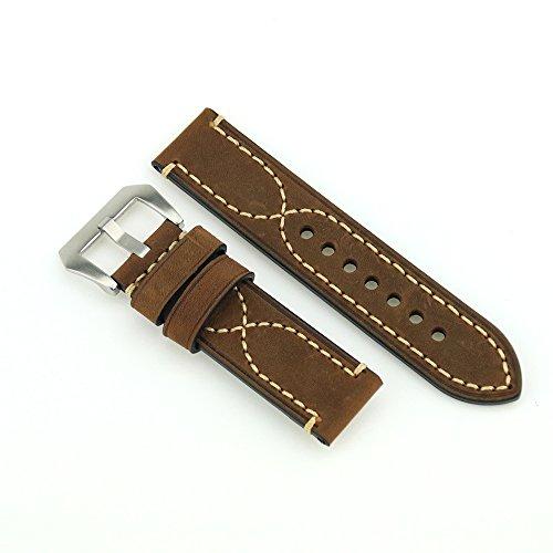 22 millimetri Crazy Horse Vigilanza di cuoio cinghia della fascia dell'orologio in acciaio inox fibbia Bianco Stitch Brown