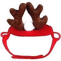 Katze Kostüm, Legendog Weihnachten Katzen Weplen Kleider Verstellbare Niedlich Santa Claus Kapuzenpullover Winter Warm Wintermantel für Katze Welpen Chihuahua (Rentiermütze)