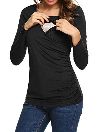UNibelle Damen Maternity Langarmshirt Stillshirt Umstandsshirt Stilltop Umstandstop, Schwarz, S