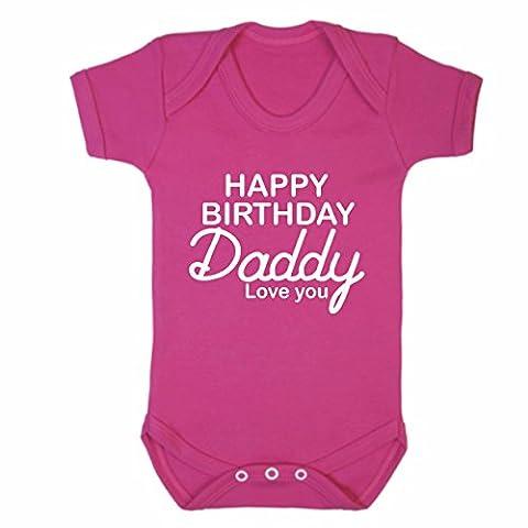 Bullshirt's Happy Birthday Daddy Pink Short Sleeve Babygrow (6-9mths, Pink)
