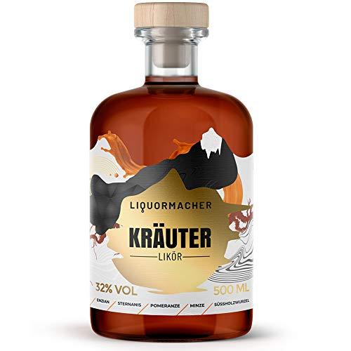 LiquorMacher Kräuter-Likör I mit über 25 ausgewählten Kräutern I nicht zu süß & nicht zu herb I verführerisch leckerer Genuss Made in Germany I Alkohol-Gehalt 32 Vol.-% I Herbal Liqueur 500 ml