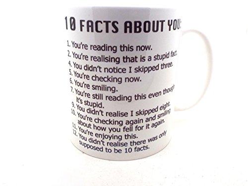 Desconocido Tazas Divertidas con Frases 10Facts About You para Las n