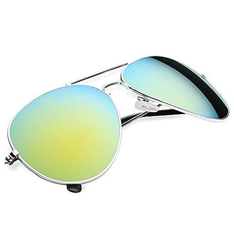 Taffstyle® Damen Herren Spiegelbrille Pilotenbrille Aviator Vintage Retro Style Piloten Police Sonnenbrille verspiegelt Pornobrille - Gold