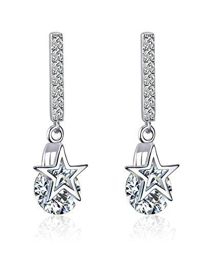 Vnox Argento 925 zircone figura del diamante ciondola orecchini di goccia della stella per le donne ragazze d'argento - Nativo Americano Del Turchese Orecchini