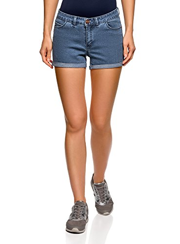 oodji Ultra Donna Shorts in Jeans Stretch con Risvolti, Blu, W25 / IT 38 / EU 25