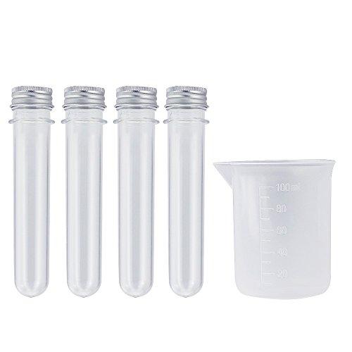 BUZIFU 20 Stück 40ml Reagenzgläser Kunststoff Reagenzröhrchen mit Schraubverschluss mit 1 100ml Becherglas für Blumen Süßigkeiten, Nadeln, Hochzeit Deko DIY