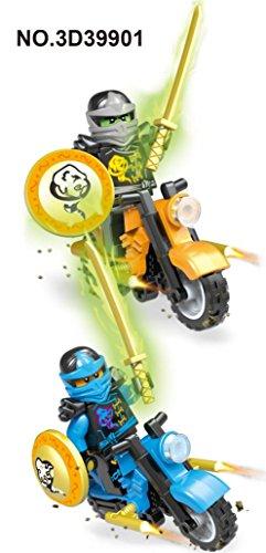 WINWINTOM 2018 6 X Minifiguren Ninjago Spielzeug Ninja Zane KAI Lloyd Motorrad Chariot Blöcke Z017