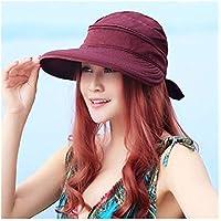 Sombrero Sólido coreana al aire libre del verano del estilo del Bowknot de viaje playa de las Damas Senderismo Sun del casquillo del sombrero plegable práctica viseras Moda ( Color : Red )