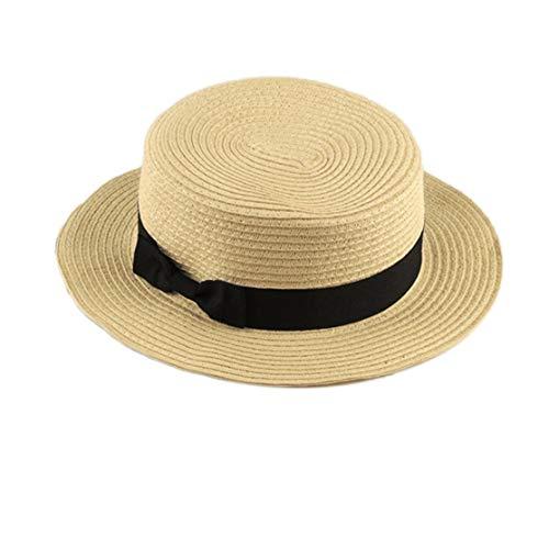 LouiseEvel215 Modisches Design Kinder mädchen Erwachsene Frauen Sommer Sonnencreme Boater Hut Klassische weben Stroh Damen Flat top Strand Hut