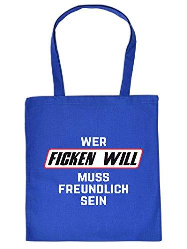 Stoff Einkaufstasche mit versautem Motiv - Wer ficken will muss freundlich sein - Geschenk - schweinisch - pervers - sex (Freundliche Jute)