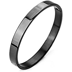 Moneekar Jewels Love oval Bangle Polished Stainless Steel Classical Band Black Bangle Bracelet for Mens Boys