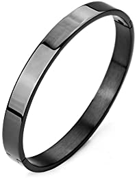 Moneekar Jewels Plain Polished Stainless Steel Classical Kada Bracelets for Mens Boys