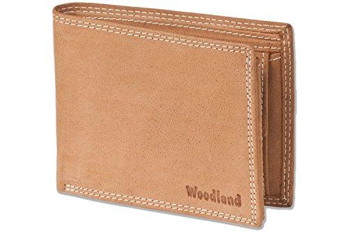 Woodland® - Riegelgeldbörse im Querformat aus naturbelassenem Büffelleder in Cognac, Beige (Geldbörse Herren Beige)
