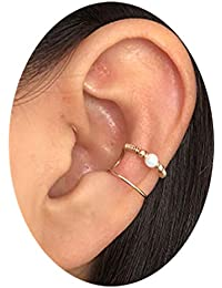 HOMEYU ® Hecho a Mano de Oreja de ópalo Envolver el Arete, puño de Oreja Doble, sin Piercing, Manguito del oído…