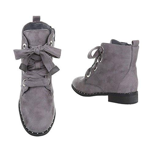 Ital-Design Schnürstiefeletten Damenschuhe Schnürstiefeletten Blockabsatz Schnürer Reißverschluss Stiefeletten Grau