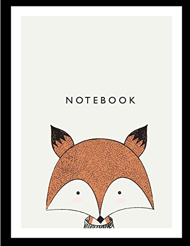 Notebook: Cute fox on grey cover and Dot Graph Line Sketch pages, Extra large (8.5 x 11) inches, 110 pages, White paper, Sketch, Notebook journal: Volume 1 (Cute fox on grey notebook)