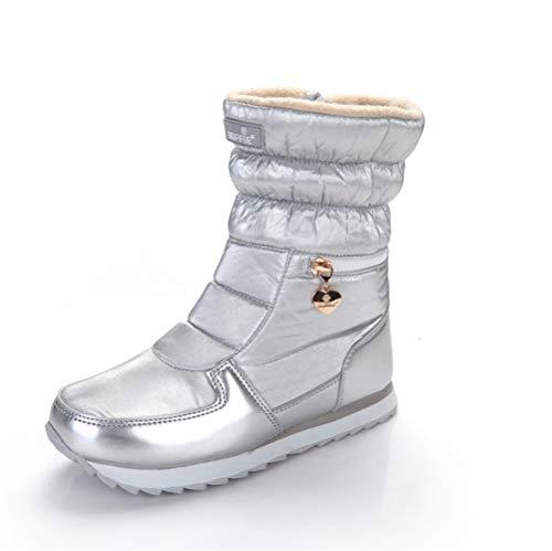 Pamray stivaletto invernali donna stivali da neve stivaletti impermeabile cerniera scarpe calde pelliccia allineato leggero inverno calzature piattaform all'aperto sci argento 38