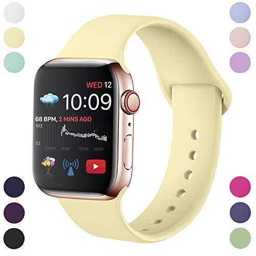 Hamile Armband Kompatibel für Apple Watch 42mm 44mm, Weiche Silikon Wasserdicht Ersatz Uhrenarmbänder für Apple Watch Series 5/4/3/2/1, S/M Mildes Gelb