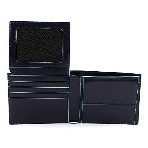 Piquadro Blue Square Wallet with Flip Blu Notte