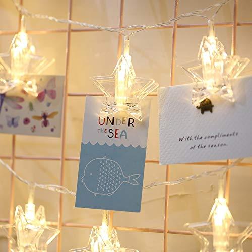 SKKMALL Neues 3m buntes Licht-Stern-Form-Foto-Klipp-LED-Feen-Schnur-Licht, 20 LED-USB-angetriebene Ketten-Lampen-dekoratives Licht für hängende Bilder, DIY Partei, Hochzeit, Weihnachtsdekoration